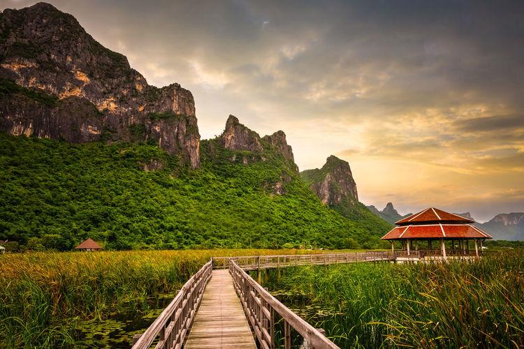 Wooden bridge across the lake sam roi yod national park