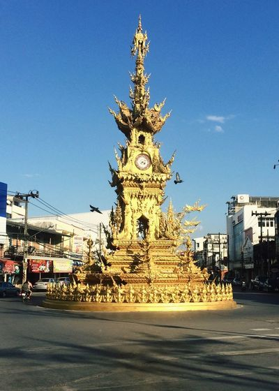 Chiang Rai, Thailand Thailand Wiang Architecture Building Exterior Clear Sky Blue Built Structure Statue Sculpture City Transportation Outdoors No People Sky Day EyeEm Best Shots Tourism Beautiful Thailand Sacred Cultures View EyeEm Gallery Dove