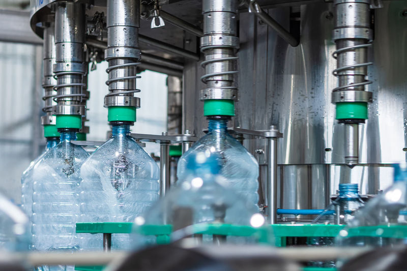 Automated line for bottling drinking water in five-liter plastic bottles
