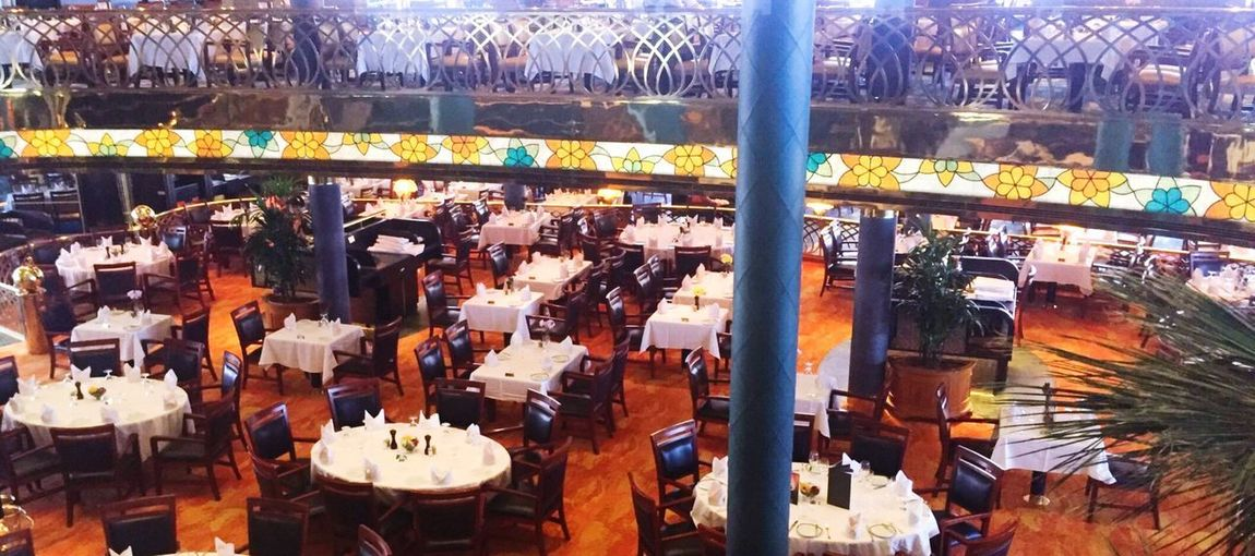 EyeEmNewHere Dining Room Cruise Ship Fine Dining Cruise Ship Diningroom Architecture High Angle View City Built Structure Day Incidental People Nature