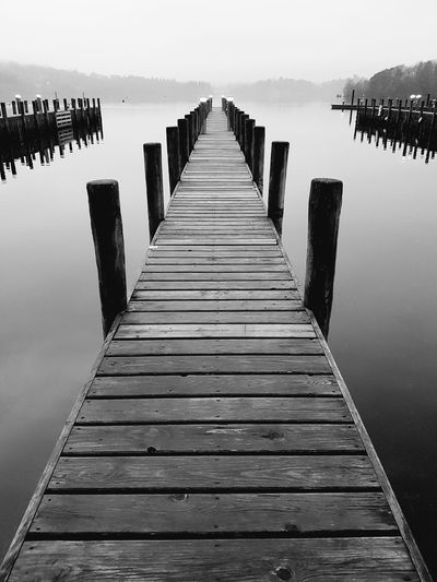 Windermere Jetty. Lake District Jetty View Waterscape Symmetrical Black And White