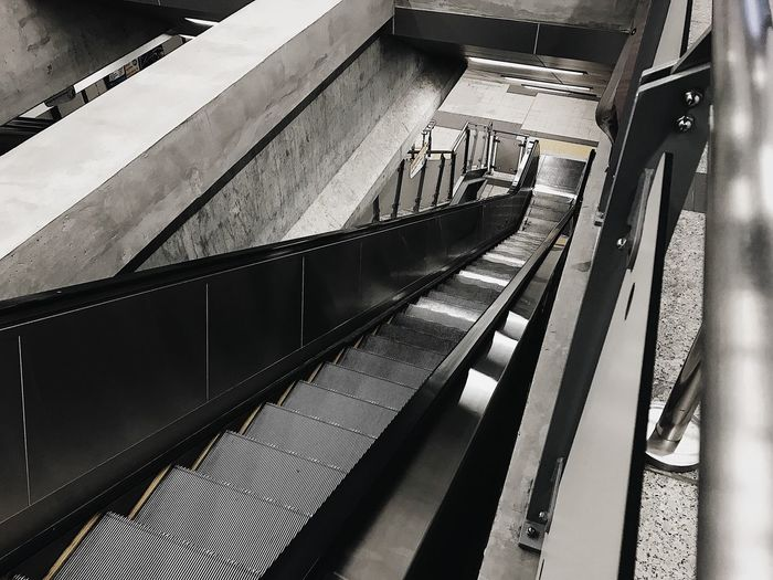Absence Architecture Built Structure Day Escalator Glass - Material High Angle View Indoors  Metal Mode Of Transportation No People Public Transportation Rail Transportation Railing Railroad Station Staircase Steps And Staircases Transparent Transportation