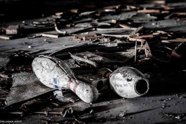 Close-up of abandoned garbage