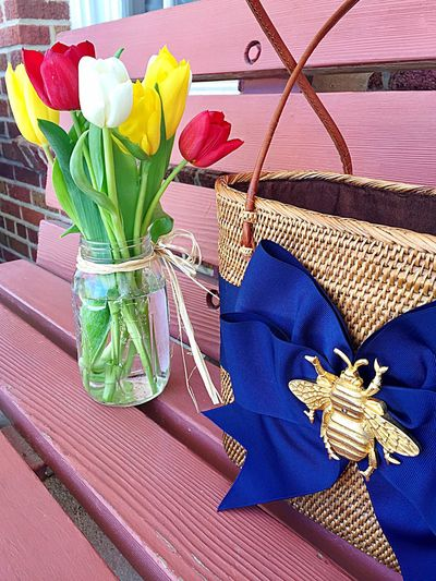 Picnic Bench Bee Decoration Navy Blue Ribbon Tulips🌷 Mason Jar Straw Purse Straw Tote
