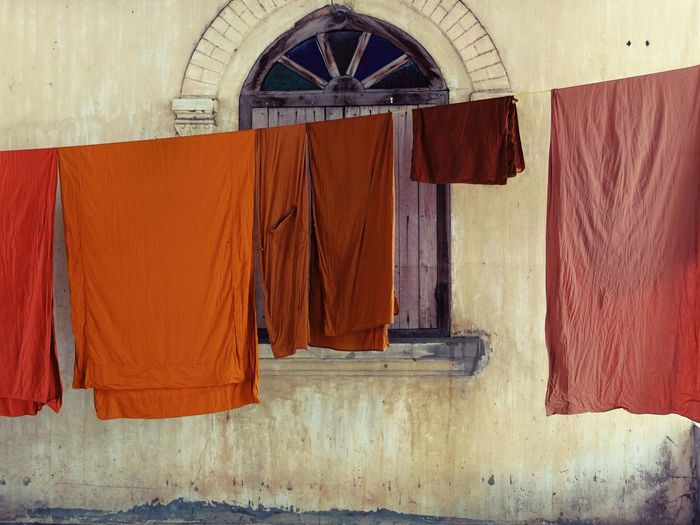 Clothes Drying Against The Wall