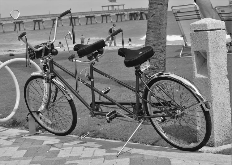 Beach Bike Black And White Double Ittakestwo Monochrome Outdoors Parked Bicycle Built For Two