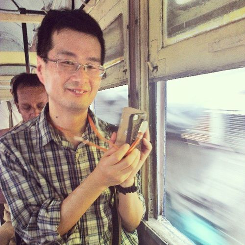 Hiroshi Yasui from Japan enjoys a Tram Ride through Chitpur after the Culture Kaleidoscope Tour, Calcutta India. incrediblecalcutta calcuttaphototours CultureKaleidoscopeTour
