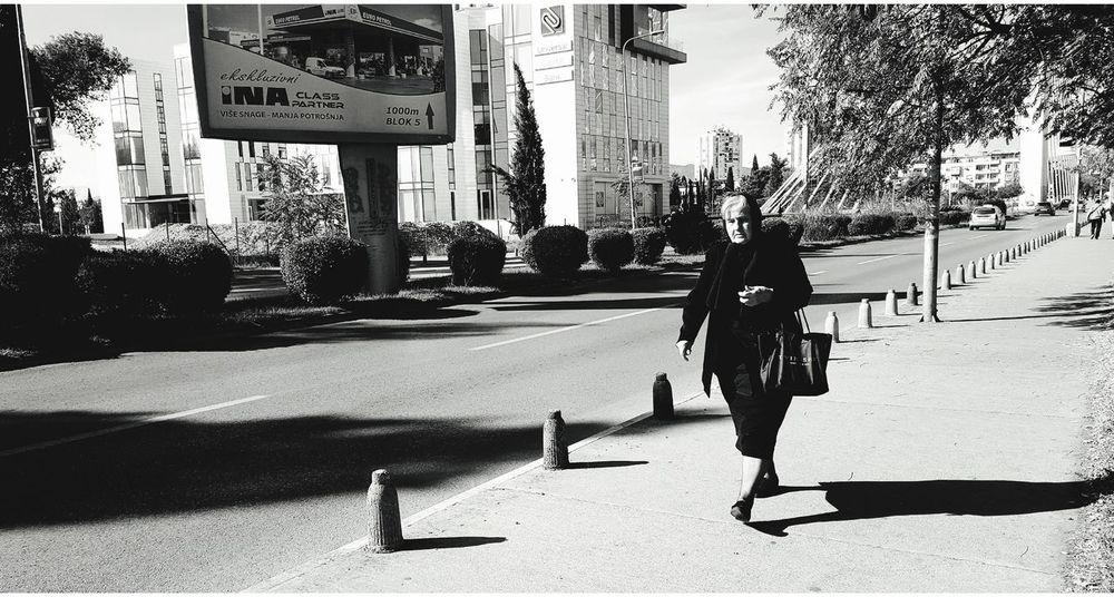 City Life Large Group Of People Walking Day Shadow Sidewalk Street Black & White Oldwomen