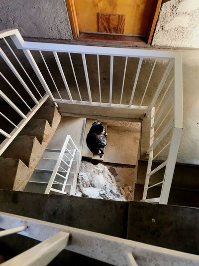 Be. Ready. Staircase Steps And Staircases Steps High Angle View Spiral One Person Arcosanti Architecture Railing Full Length Stairs Real People Indoors  Spiral Staircase Day Hand Rail One Man Only Adults Only Adult People