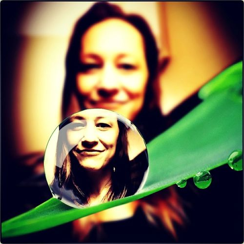 Smiling Happiness Lifestyles Women Single Dew Drop On A Blade Of Grass. Me.