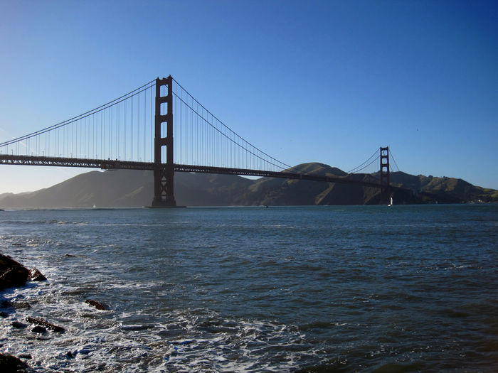 San Francisco USA California Water Bridge Connection Sky Bridge - Man Made Structure Transportation Sea Built Structure Suspension Bridge Architecture Tourism Clear Sky Nature No People Travel Destinations Bay Travel Waterfront Outdoors