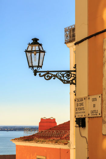 Lamp Post Portugal Architecture Built Structure Cimney Clear Sky Close-up Day Lamp Nature No People Outdoors Sky Toponymic Toponímica Yellow Color