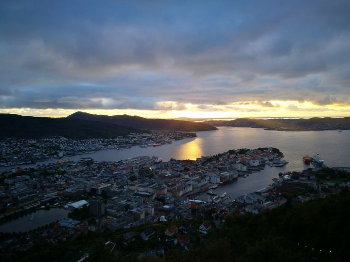 Bergen Bergen,Norway Architecture Beauty In Nature Building Exterior Built Structure City Cityscape Cloud - Sky Day High Angle View Horizon Over Water Mountain Nature No People Outdoors Scenics Sea Sky Sunset Water The Week On EyeEm