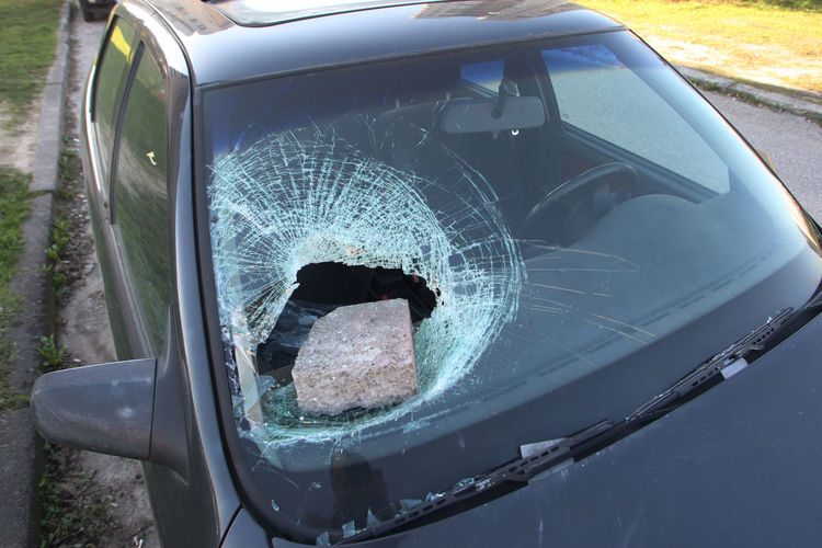 Broken Car Crashed Window Damaged Day Glass - Material Land Vehicle Lifestyles Men Mode Of Transportation Motor Vehicle Nature One Person Outdoors Real People Reflection Technology Transparent Transportation Window