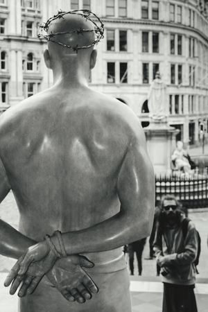 Architecture Statue Building Exterior City Only Men Sculpture Men Adult Day Outdoors One Man Only Young Adult Barb Hands Tied Hands Christ Representation Black And White Bnw Blackandwhite London Streetphotography The Street Photographer - 2017 EyeEm Awards EyeEm Gallery Check This Out Saint Paul's Cathedral EyeEm LOST IN London