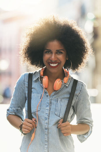 Portrait of beautiful afro american woman. Adult African Afro City City Life Copy Space Fashion Hair Happy Lifestyle Modern Music Woman Black Communication Denim Ethinic Girl Model Outdoors People Portrait Smiling Street Urban First Eyeem Photo