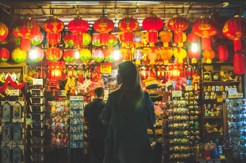 Adult Adults Only Annual Event Chinatown Chinese Lantern Festival Cultures Illuminated Night One Woman Only Only Women People Rear View Singapore Traditional Traditional Clothing