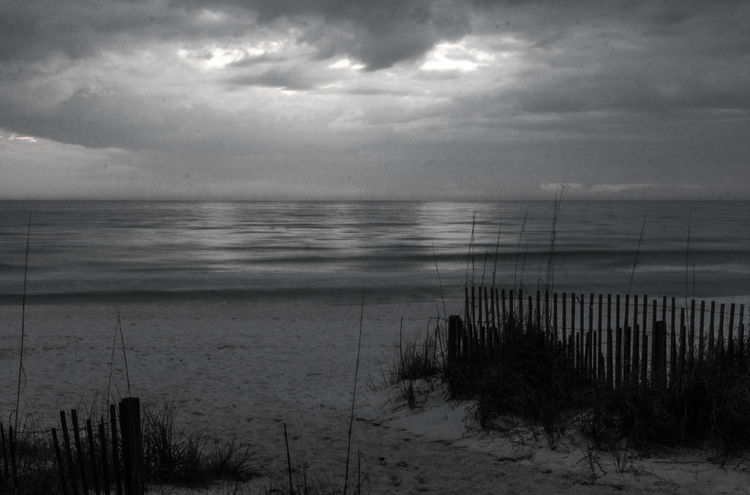Beach Beach Fence Beachphotography Beauty In Nature Black And White Black And White Photography Cloud - Sky Day Florida Horizon Over Water Marram Grass Nature No People Outdoors Sand Sand And Sea Scenics Sea Sea Oats Sky Sunset Tranquil Scene Tranquility Vacations Water