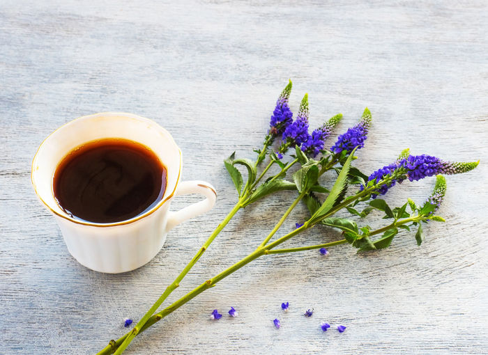 Flower Freshness Flowering Plant Cup Table Drink Food And Drink Mug Plant Refreshment Tea Still Life Hot Drink Nature Wood - Material Indoors  No People Purple Close-up Tea - Hot Drink Lavender Tea Cup Flower Head