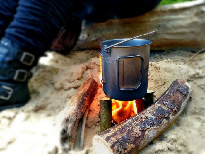Boiled Boiling Boil Tea Outdoors Outdoor Outdoor Photography Day Tranquility Tranquil Scene Tranquil Tranquillity Flame Heat - Temperature Burning Close-up Camping Stove Fire Pit Coal Campfire Wood Burning Stove Camping