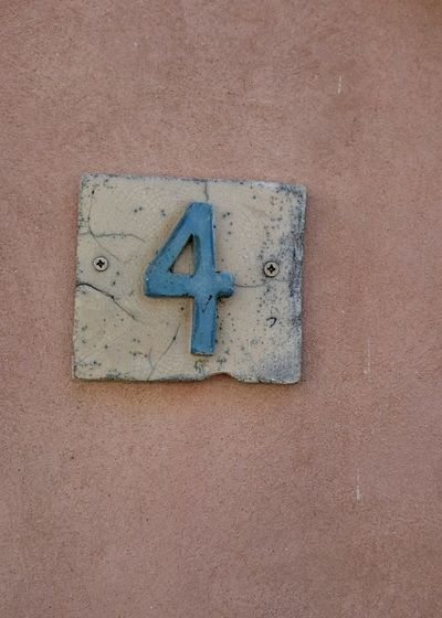 Number 4 Number Four Street Number Artistic Orange Color Orange Background Outdoors Design House Number House Number On Wall Decoration Detail Orange Wall
