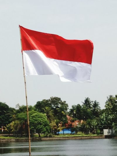 Flag Red Water Wind Outdoors Tree No People Day Politics And Government Sky Independence Day INDONESIA Bendera Merah Putih