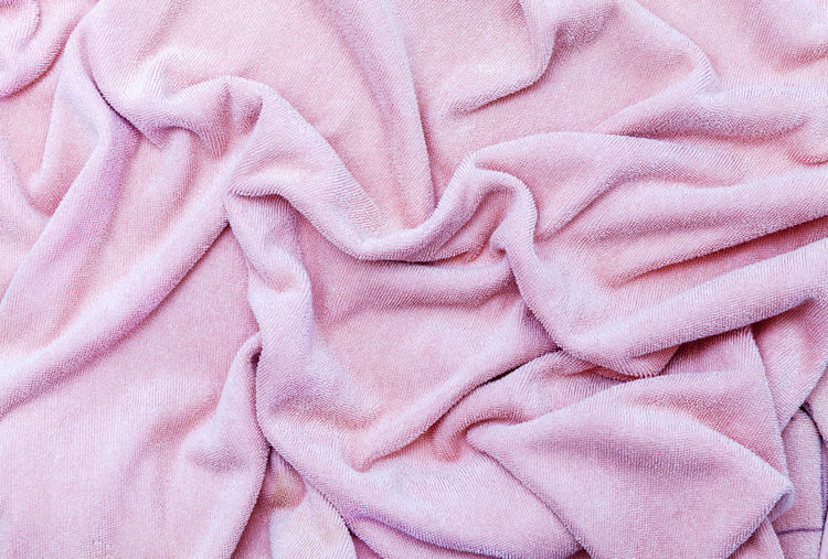 Full Frame Shot Of Crumpled Pink Towel