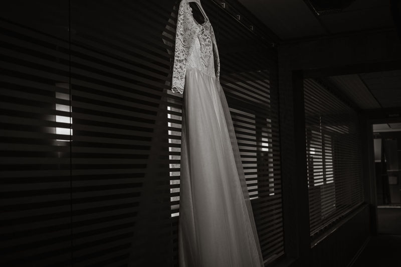 Black & White Dress Wedding Wedding Photography Beautiful Dress  Black And White Home Interior Indoors  Light And Shadow Low Angle View No People Wedding Ceremony Wedding Day Wedding Dress