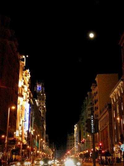 Last night after theatre. Night Illuminated Street City City Street Street Light Outdoors Architecture Nightlife Building Exterior No People Sky Madrid Life