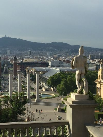 Barcelona; Statue Human Representation Art And Craft Sculpture Male Likeness City Cityscape Built Structure Fine Art Statue Monument Water Sky No People Day Outdoors Done That. #urbanana: The Urban Playground
