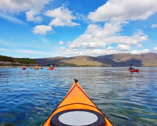 Lake Nautical Vessel Water Cloud - Sky Kayak Oar Outdoors Day One Person Sky One Man Only Nature Canoe Scotland Floating On Water Tranquility Mountain People Blue Adult Kayaking Kayaking In Nature Kayaks Kayak Sea Kayaking