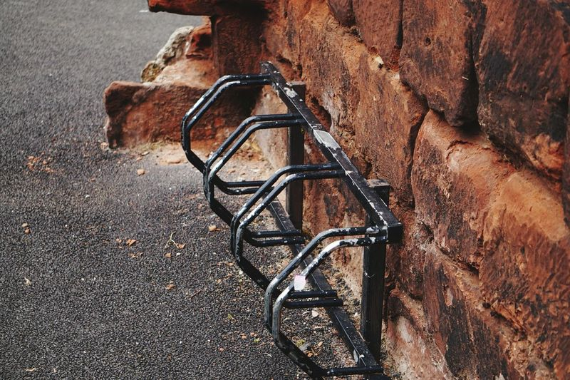 High angle view of bicycle stand