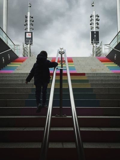 Choose a path full of color // IPhoneography Streetphotography Everybodystreet Street Photography Boy Taking Photos Street Life Colors Real People Stairs Skyporn Sky And Clouds Street Light And Shadow