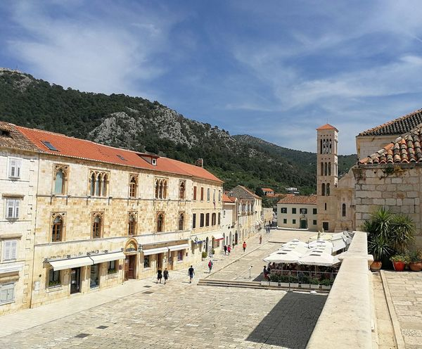 Hvarska Pjaca Square St. Stephen's Cathedral Architecture High Angle View Hvar Town Incidental People Mountain Sky Street Town Town Square