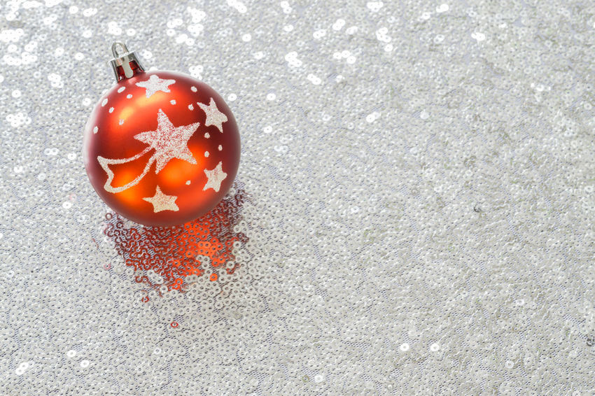 Christmas Copy Space Glitter Red Christmas Ball Christmas Bauble Christmas Card Christmas Decoration Christmas Decorations Christmas Ornament Close-up Day Directly Above High Angle View Indoors  No People Silver  Stars Twinkles