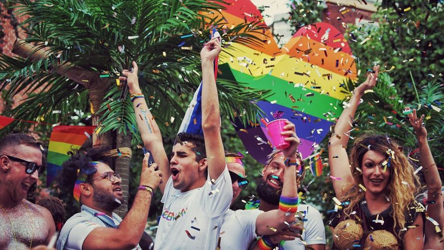Pride parade Celebration Group Of People Event Women Tree Fun Happiness Togetherness Real People Party - Social Event Lifestyles Emotion Decoration Confetti Smiling My Best Photo