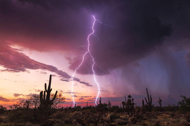 Lightning in sky during sunset