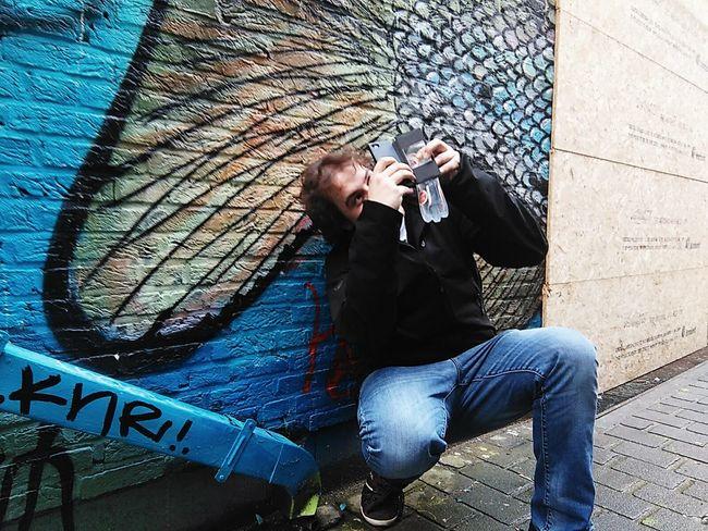 Cellphone Photography Streetart Blues Person Cityexplorer Antwerp Belgium Antwerpcity
