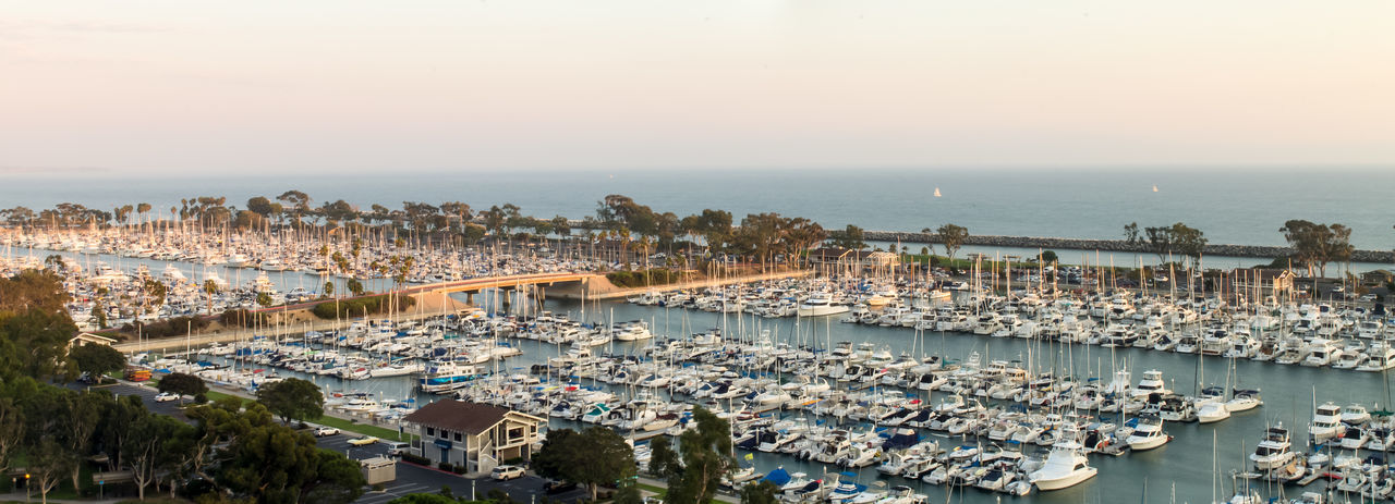 California Dana Point Harbor Dana Point, Ca Harbor Harbor Sunset Pacific Panorama Panoramic Southern California Beach High Angle View Ocean Pacific Ocean Sea Sunset Water