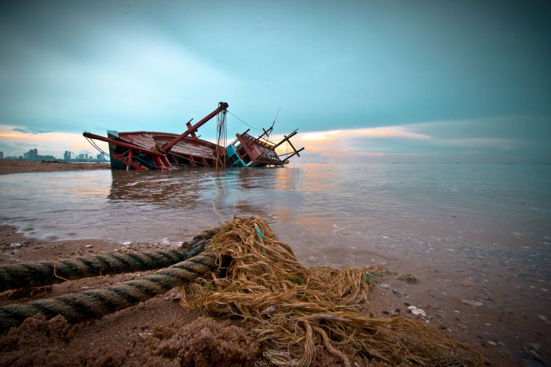 Sky Sea Water Abandoned Transportation Beach Land Shipwreck Nature Mode Of Transportation Nautical Vessel Obsolete No People Day Ship Cloud - Sky Damaged Deterioration Outdoors Ruined