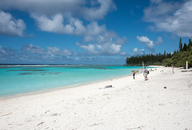TADINE,MARE,NEW CALEDONIA-DECEMBER 3,2016: People enjoying the stunning Pacific Ocean shore at Yejele Beach in Mare, New Caledonia. Excursion Holiday Mare Beach Beauty In Nature Cloud - Sky Horizon Over Water Leisure Activity Nature New Caledonia Outdoors Pacific Ocean Pine Woodland Rainforest Real People Sand Scenics Sea Shoreline Tadine Togetherness Travel Destinations Vacations Water Yejele