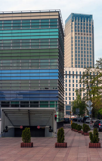 Modern building against sky in city