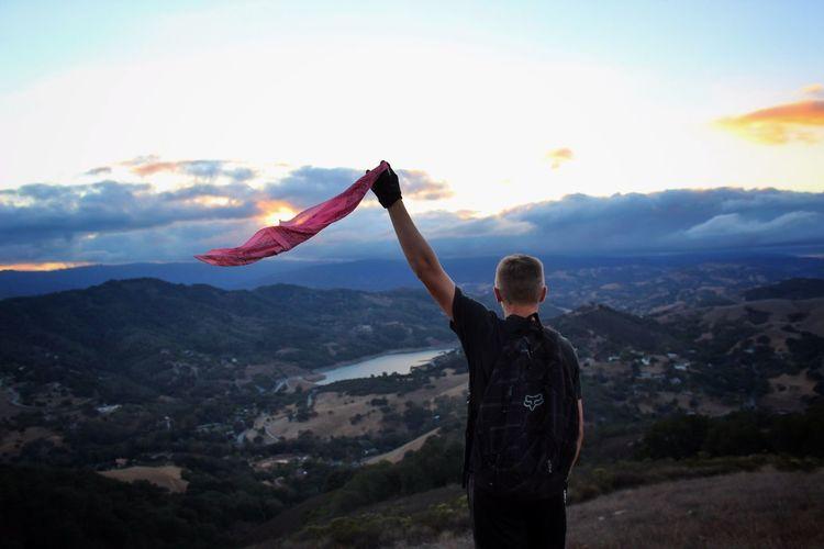 bandanas in the wind Bandana Views Pink Hiking Hikingadventures Exploring Lake Sunset Clouds Nature Windy Wind Hiker EyeEm Best Shots EyeEm Best Shots - Landscape Landscape_Collection