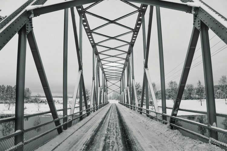 Old bridge EyeEm Bridge EyeEm Best Shots Road Travel On The Road Norway Steel River Ice Winter Car Frost Busund Shades Of Winter