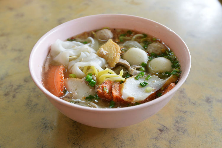 Teochew fish Ball Noodles Bowl Bowls Close-up Elevated View Fish Balls Food Freshness Indulgence Meal No People Noodles Ready-to-eat Selective Focus Served Serving Size Still Life