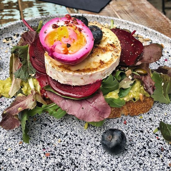 Pink Egg Chevre  Goat Cheese Healthy Eating Breakfast Hipster Brunch Trendy Food Brunch High Angle View Ready-to-eat Freshness Food Close-up Food And Drink No People