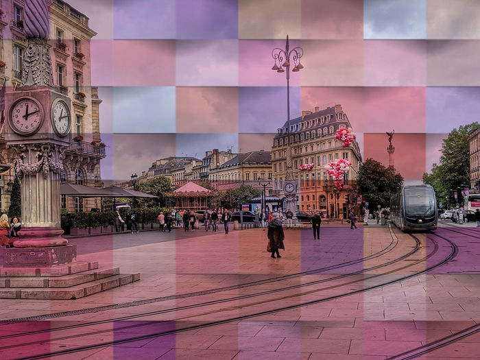 patchwork Eye Eye4photography  Bordeaux Pixelated City Multi Colored Architecture Sky Mosaic Large Group Of People Modern Art