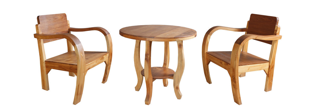 Chairs on wooden table