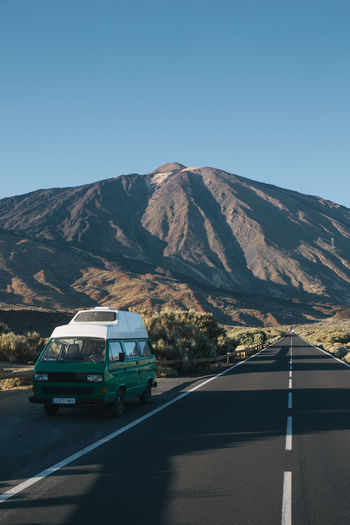 Tenerife Technology Vanlife Camper Campervan Camping Roadtrip VwT3 Vwbulli SPAIN Mountain Sky Road Outdoors Mountain Range No People Sunlight Clear Sky Nature Nature_collection Nature Photography Landscape Landscape_Collection Volcano Landscape_photography