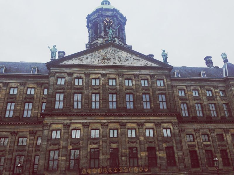 Building Exterior Built Structure Architecture Low Angle View No People Outdoors Day City Sky Clock De Dam Square
